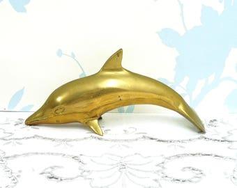 Vintage Brass Dolphin Figurine, Brass Fish, Solid Brass, Brass Ornament, Nautical Decor, Beach Theme, Ocean Figurine, Brass Paperweight