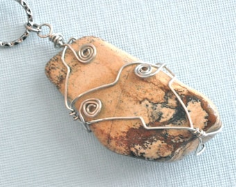 Draht gewickelt Halskette - Bild Jaspishalskette, Anhänger, Edelsteinhalskette, Tan Halskette