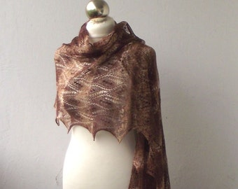 Chocolate Brown hand knitted merino and silk  lace stole with nupps