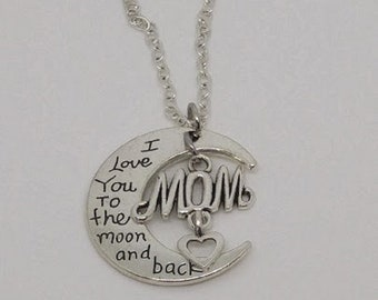 MOON, Love you to the Moon and Back with MOM with dangling Heart, Charm, Pendant with .925 Necklace - R927