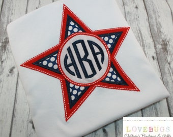 Custom Patriotic Star with Monogram Shirt ~ 4th of July Shirt ~ Independence Day ~ Monogrammed, Applique, Embroidered