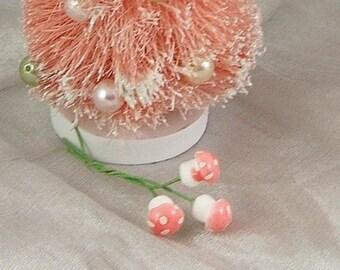 Teensy (10mm) Spun Cotton Pink-Topped Amanita Mushrooms - Bundle of 12