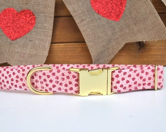 Valentine's Day Dog Collar, Pink Hearts Dog Collar, Pink and Gold, Girl, Female, Girly, Romantic Dog Collar, Metal Buckle