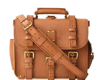 Mens Leather Briefcase | Water Buffalo | Single Space Leather Messenger Bag Men | Leather Backpack Satchel | Leather Briefcase | Laptop Bag