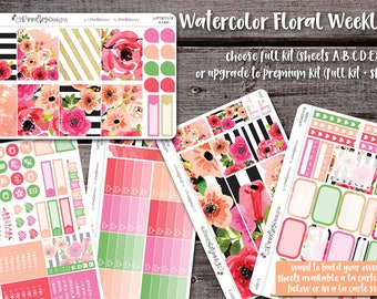 Watercolor Floral | Weekly Vertical Sticker Kit | Planner Stickers | Erin Condren Sticker | Calendar Sticker | Happy Planner Sticker | 012