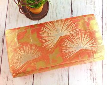 Vintage clutch kimono bag Japanese brocade clutch wallet orange gold tone evening clutch - JA019VH