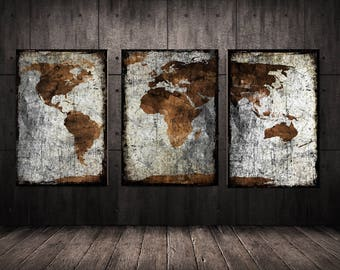 World map print, canvas art, World map canvas, Map canvas, World map, Wall art map on canvas, World map print, World map poster, Travel map