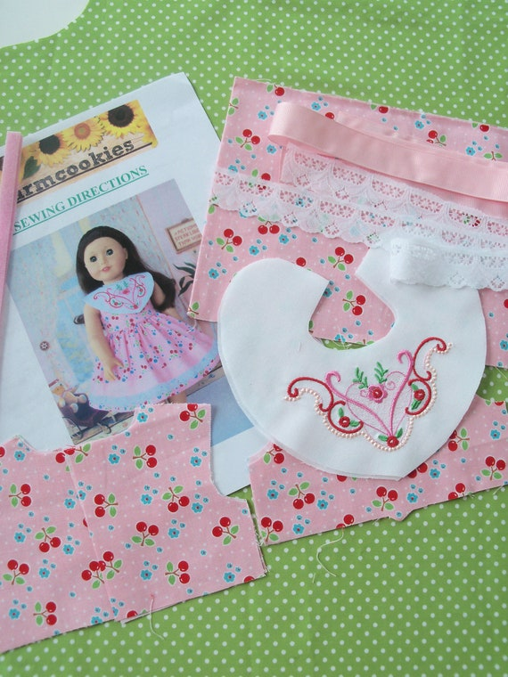 "18"" Size /COMPLETE SEWING KIT for 18 Inch Doll Clothes / Embroidered Patriotic Dress / Fits Like American Girl Doll Clothes"