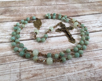 Five Decade traditional Catholic Amazonite gemstone Rosary with Miraculous Medal