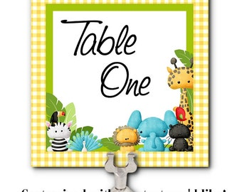 Table Number Cards, Buffet Table Cards, Baby Jungle Animals, Baby Shower, 1st Birthday, Christening Party, Baptism