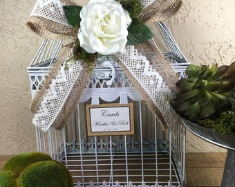 Wedding Birdcage Cardholder / White Wedding Birdcage / Wedding Cardholder