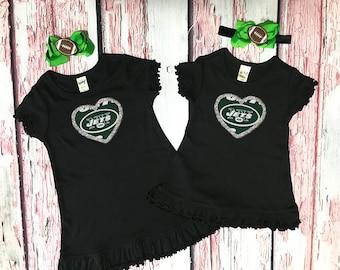 new york jets girls dress - new york jets baby dress - big sister little sister dress - new york jets baby girl - new york jets baby gift