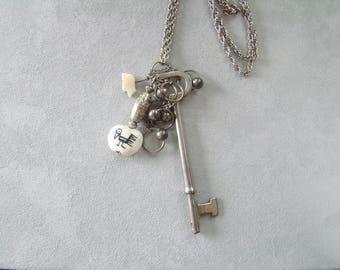 Vintage Skeleton Key Repurposed Necklace Hieroglyphic Bead Necklace