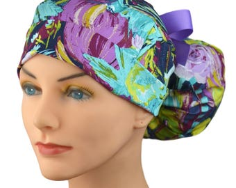 Scrub Hats // Scrub Caps // Scrub Hats for Women // The Hat Cottage // Ponytail // Midnight Garden