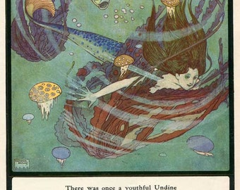 Vintage 1930's Mermaid Undine in the Sea by Edmund Dulac Illustration Bookplate Print for Framing, Youthful Undine in Ultramarine Verse