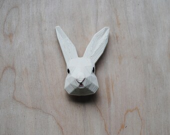Bunny - 3D printed  Polygonal Brooch, Rabbit Face