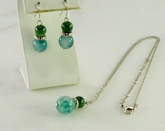 """Jade Ball Earrings and Necklace  18""""-21"""""""