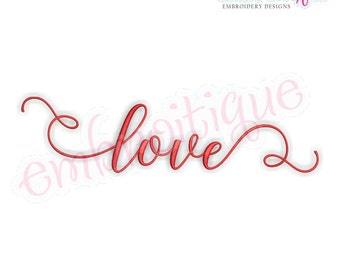 Love in  Calligraphy Script  - Love Valentine Wedding Marriage Husband Wife  -  Instant Download Machine Embroidery Design
