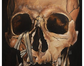 JEREMY WORST Skull 2015 Canvas print skulls zombie mummy  Artwork Signed Print poster dark gothic grunge creepy scary walking dead