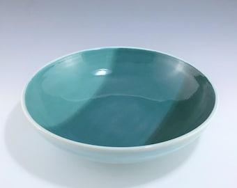 Teal Pasta Bowl, Ceramic Salad Bowl, Teal Blue Bowl, Wheel Thrown Pottery Bowl, Aqua Porcelain Bowl, Ceramic Fruit Bowl, Teal Ceramic Bowl