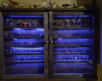Custom Curio Cabinet w LED Lighting for D&D figurines, curiosities