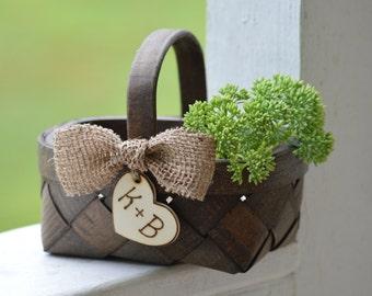 Rustic Flower Girl Basket, Burlap Wedding Bows, Shabby Chic Flower Girl Basket, Country Wedding, Farm Wedding, Burlap Wedding Decor
