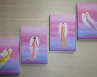 Angels Rising, 4 Original Acrylic Paintings on Canvas, Spiritual Art, Feng Shui Art, Healing Art, Art & Collectibles