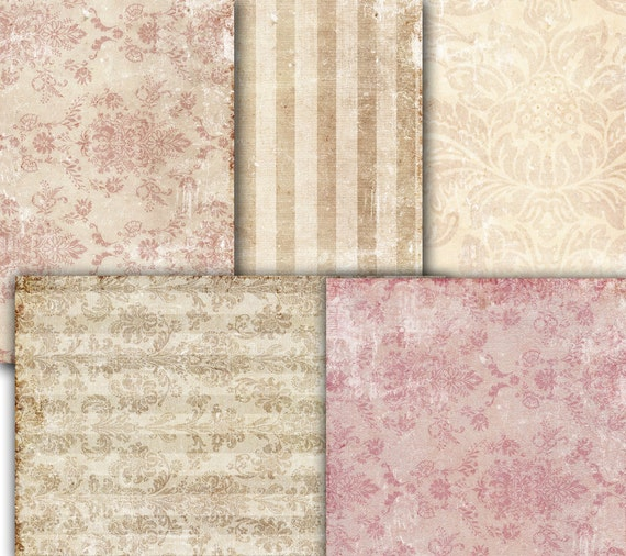 Shabby Chic Tapete decoupage vintage wallpaper damask shabby chic paper