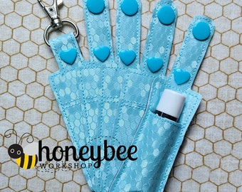 Powder Blue Hexagon Honeycomb - Bee Lip Balm Holder Keychain - Key Fob