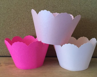 Cupcake wrappers, Scalloped cupcake wrappers, paper cupcake wrappers, 12 cupcake wrappers, cupcake holders