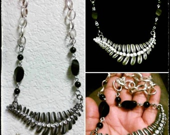 Grey Feathers and Black Onyx Necklace