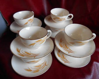Golden Wheat Cups and Saucers  Set of 8