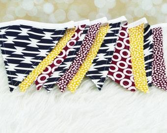"Fabric Bunting Decoration ""Tomahawk""  Nursery Decor, Party Decoration, Fabric Flag Bunting, Flag Garland, Fabric Garland, Fabric Pennant"