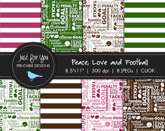 Football Scrapbooking Papers / Backgrounds - Peace Love and Football - Commercial and Personal Use