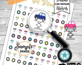Car Repair Stickers, Printable Car Maintenance Stickers, Car Planner Stickers, Printable Stickers Cars