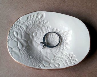Ceramic Lace Ring Dish Ring Bowl Ring Holder OFF WHITE with gold edging