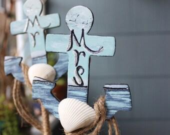 Beach Wedding Anchor Cake Topper Set-  Hand Painted Seascape Mr & Mrs signs,  Coastal Wedding Reception Decor