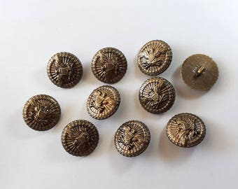 15x Eagle Antique Bronze Shank Vintage Hole Buttons 30x30mm