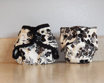 Preemie Newborn Cloth Diaper & Diaper Cover Set-  4 to 9 pounds- Black and Gray Floral- 29041