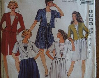 McCalls 5306, size 14-18, misses, womens, teens, unlined jackets, split skirt, UNCUT sewing pattern, craft supplies