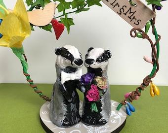 Mr & Mrs Badger/ Wedding cake topper