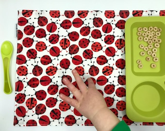 Ladybug Placemat (Spring Placemat, Kids Waterproof Place Mat, Montessori Lunch, Fabric Placemat, Ladybird Gift Under 15, For Easter Basket)