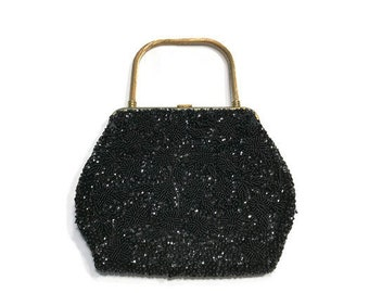 Black Beaded Evening Bag, Vintage 1960s Beaded Purse, Made in Hong Kong