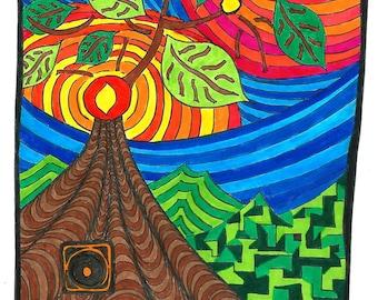 "Card, A5, ""Tree Of Life"", greeting card, birthday, gift, yoga, tree, nature, abstract, art, print, rainbow, balance, soul, energy, sun, mum"