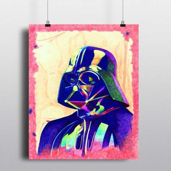 Sith Lord Darth Vader Star Wars Ballpoint Pen Illustration SIGNED Fine Art Print