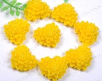 15 Pieces 13mm Heart Mum Flower Cabochons - Kawaii Decoden Flatback Resin (TDK-C1490)