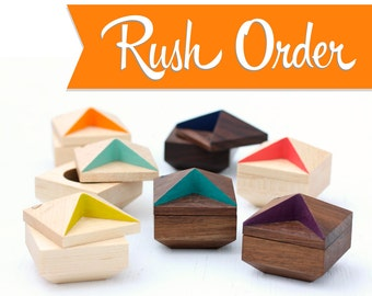 RUSH ORDER Engagement Ring Box / proposal box / ring bearer box / ring holder / faceted wood ring box by Oh Dier