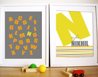 Modern Nursery Art prints, Set of 2- Bold Type , 8X10, Other sizes available