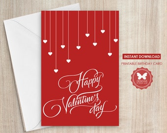 Valentines Day Card, Printable Valentines Day Card, Valentines Day, Greeting Card, Hearts