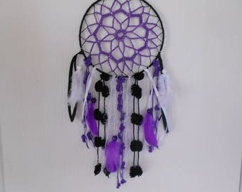 dream catcher dreamcatcher, purple, white and black, cotton, wool, ribbons, feathers, pearls, LIYAH